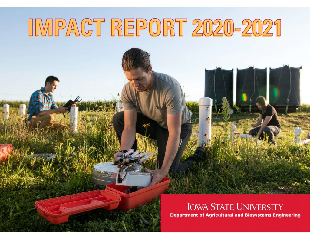 ABE impact report 2020-2021 cover of student doing water research in field