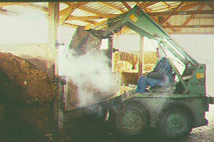 skid loader dumping load